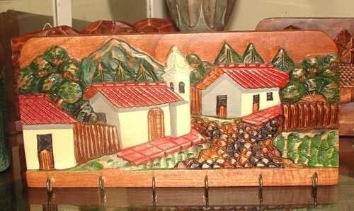 Porta llaves casa para pared con paisaje tallados manualidades pinterest - Porta llaves pared ...