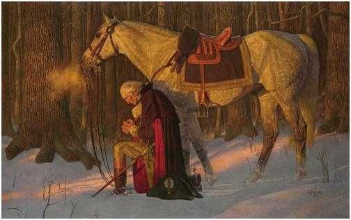 Valley Forge, Washington praying