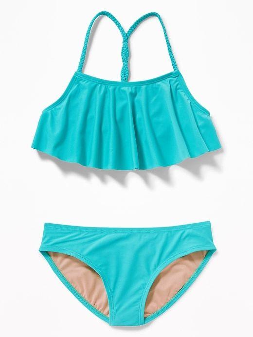 Ruffled Braided Strap Bikini for Girls | Braided strap