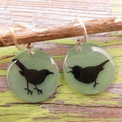Beijo Brasil Small Resin Earrings - Bird Silhouette - product images  of