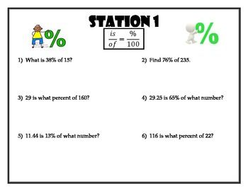 Worksheets 7th Grade Percent Word Problems Worksheets station review of percent word problems math and this activity includes seven stations each focuses on a specific type word