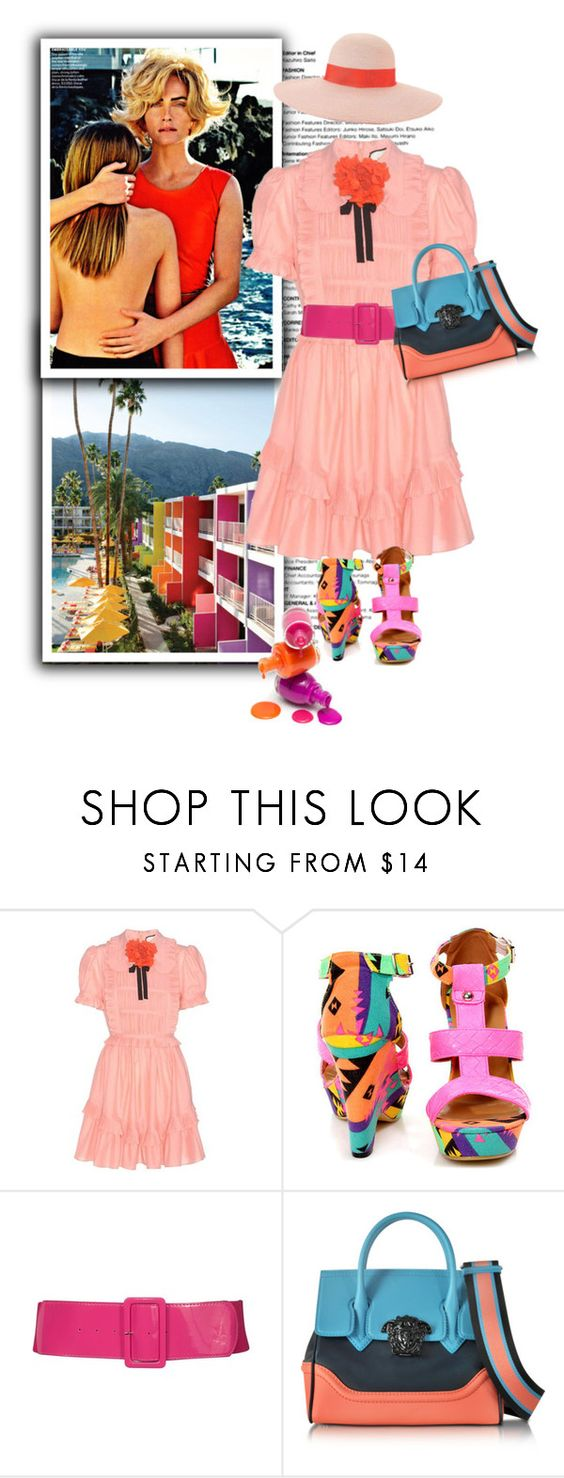 """""""Holding on to the last vestiges  of summer"""" by terrelynthomas ❤ liked on Polyvore featuring Gucci, Fiebiger, Versace, Eugenia Kim, gucci and coralandpink"""