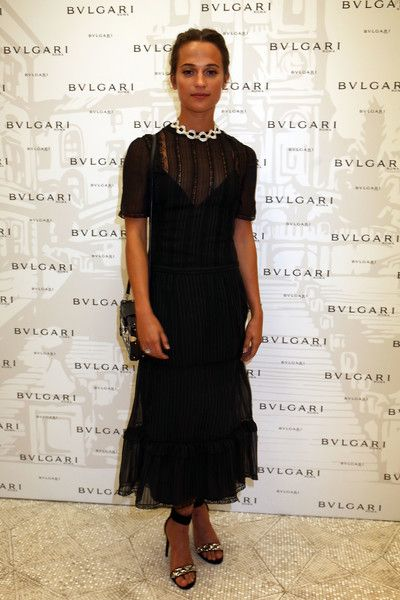 Alicia Vikander attends the Bvlgari Tribute To Spanish Steps Opening Event on September 22, 2016 in Rome, Italy.