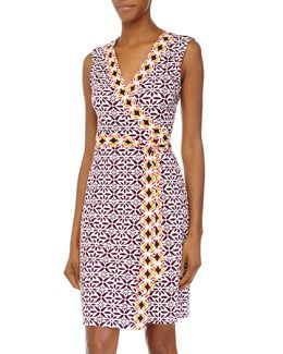 TA3YG Diane von Furstenberg New Yahzi Printed Wrap Dress, Moroccan Floral Elderberry