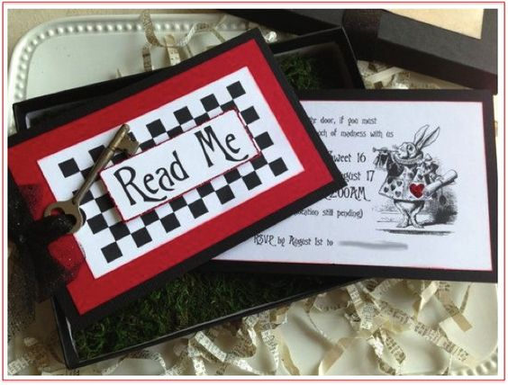 Alice in Wonderland/Mad Hatters Tea Party invitation ideas