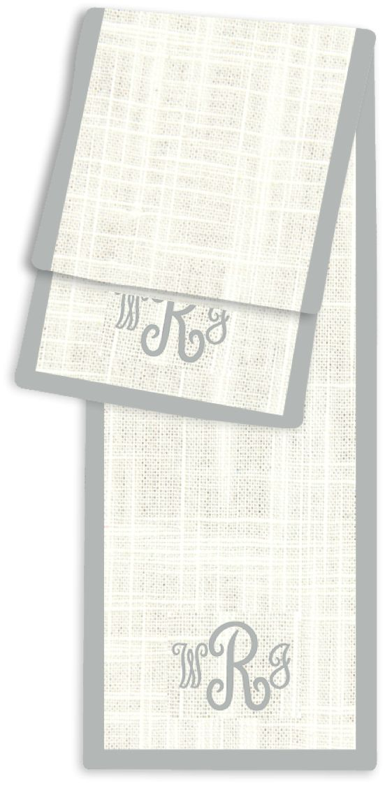 Letter Juliette Cream And Silver Monogram Table Runner  Table