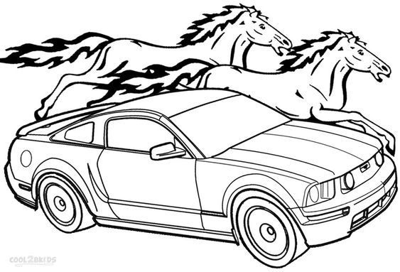 Ford Mustang GT Lineart Coloring Page