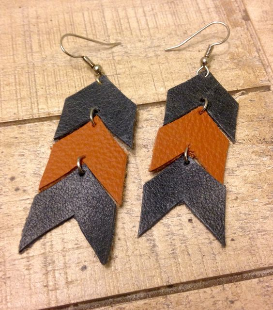 Blue and Orange Leather Chevron Earrings by RoyalSalvage on Etsy https://www.etsy.com/listing/229581117/blue-and-orange-leather-chevron-earrings