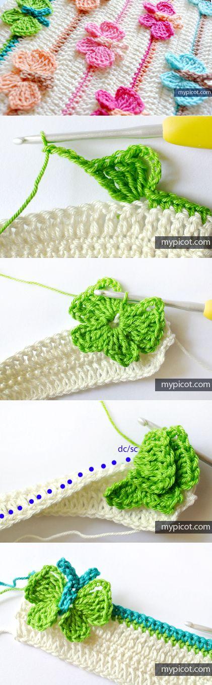 Lindo punto de mariposas crochet incorporadas al tejido No sobrepuestas: