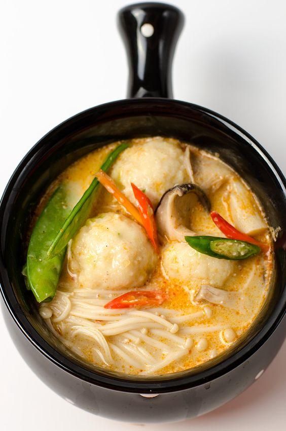 Thai Coconut Soup with Fish Ball (Tom Kha Gai) Recipe Thai
