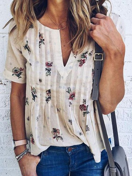 White V-neck Floral Short Sleeve Blouse Top