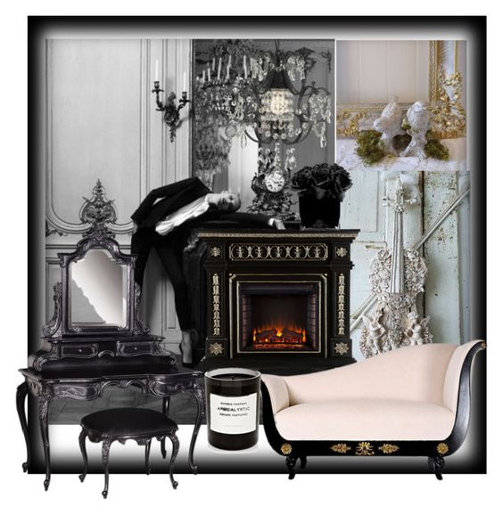 """B&W Sonet"" by incantare on Polyvore featuring interior, interiors, interior design, home, home decor, interior decorating, Byredo, Hervé Gambs and Gallery"