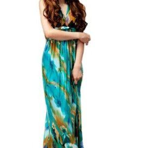 Simplicity® Women's Sexy Floral Print Maxi Dress Silky Long Dress Summer Skirt