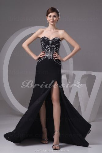 A-line Sweetheart Sweep/Brush Train Sleeveless Chiffon Dress - $109.99