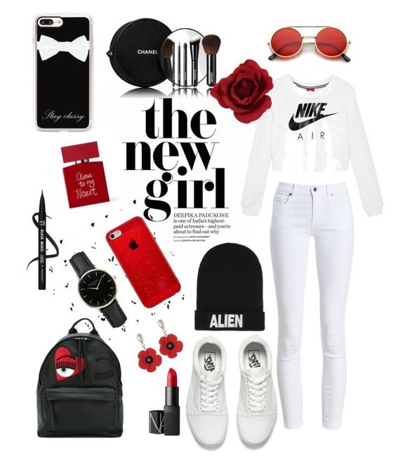 """RED BLACK AND WHITE ELIZABETH SANTOS OUTFIT"" by elisants on Polyvore featuring Barbour, Vans, Casetify, Chanel, Nicopanda, NIKE, Chiara Ferragni, NARS Cosmetics, ROSEFIELD and Bella Freud"