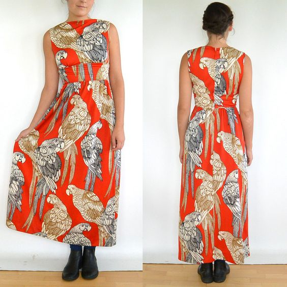 Vintage 70's Grecian Parrot Pattern Dress // by ParadisePrairie