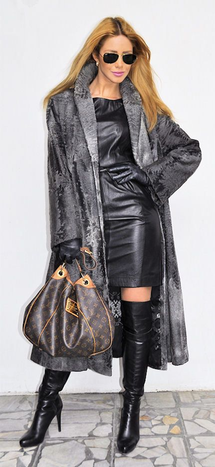 Leather dress and fur