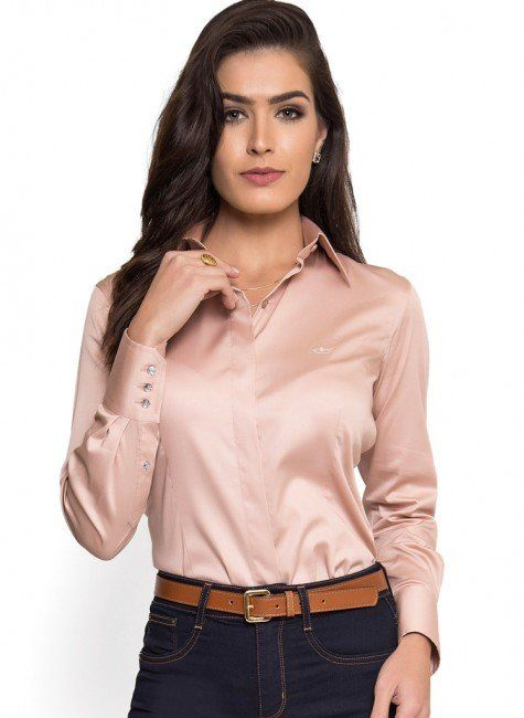 Camisa Social Feminina Rosa