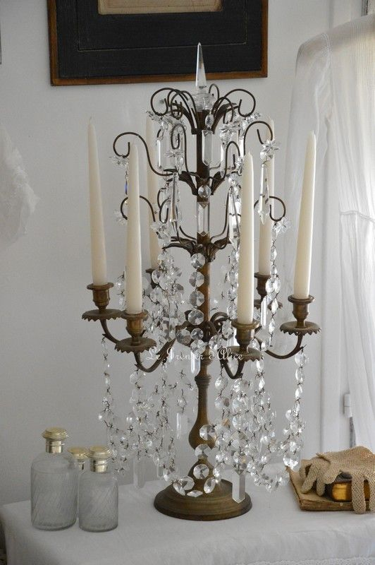 candelabre girandole bougeoir 6 branches romantique shabby chic pampille cristal reproduction. Black Bedroom Furniture Sets. Home Design Ideas