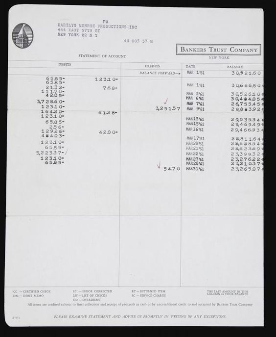 A Marilyn Monroe Productions Inc Bank Statement From Bankers