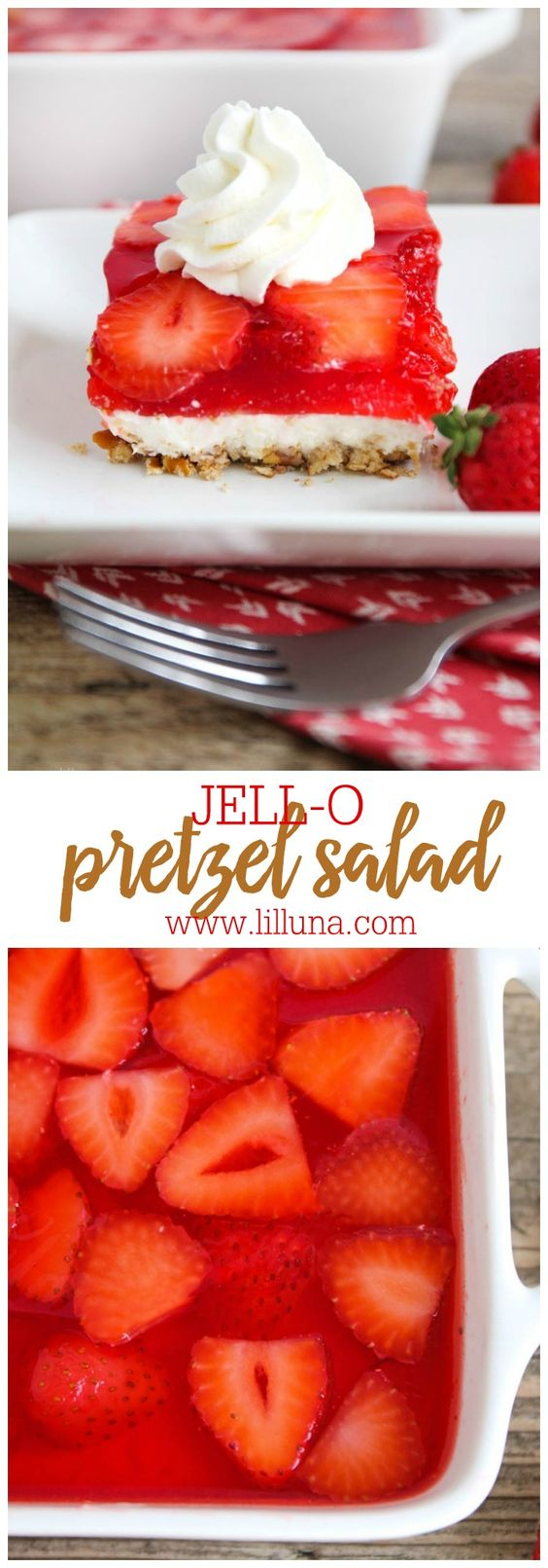 JELLO Pretezel Salad - a class holiday and summer treat with a pretzel crust, cream cheese layer and strawberry jello topping!