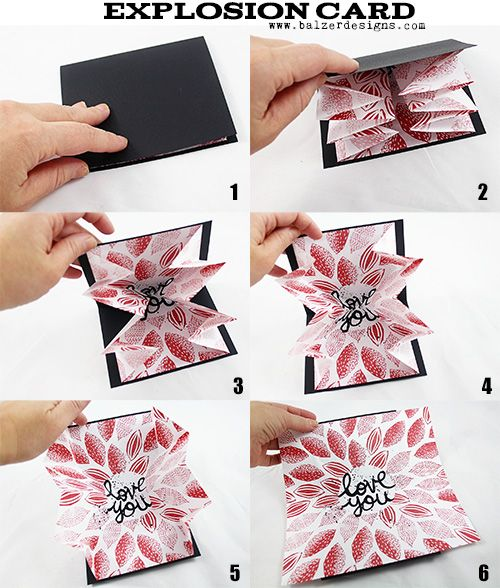 Just in time for Valentines Day, a super easy card to make and give! It explodes with love!...:
