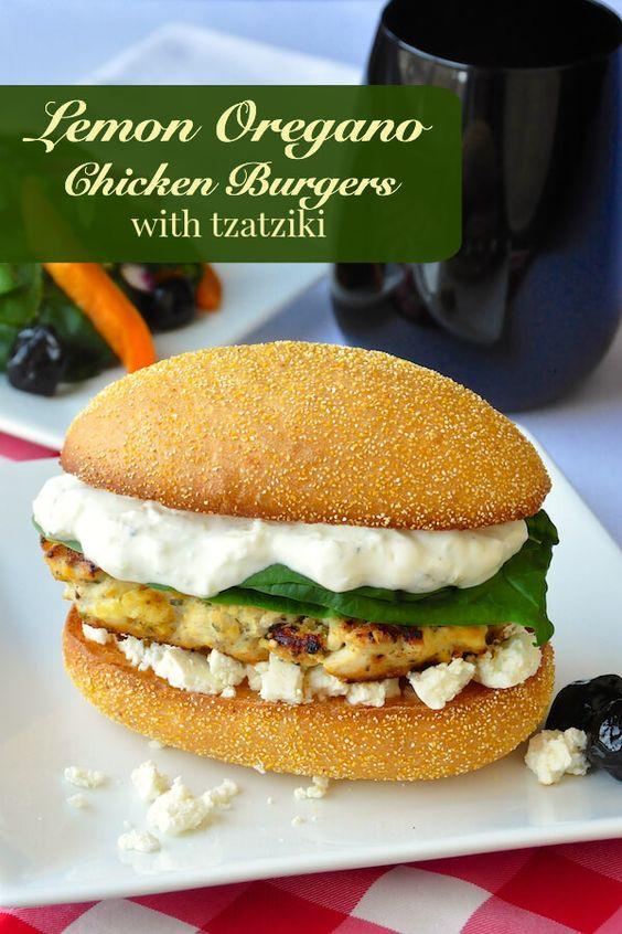 Lemon Oregano Chicken Burgers - these Greek inspired chicken burgers ...