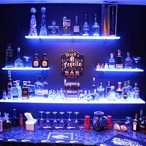 Lighted Display Shelving For Bars Nightclubs Restaurants And More Bar Shelves Bars For Home Man Cave Home Bar