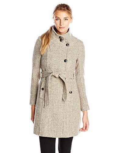 T Tahari Women's Izzy Wool Tweed Belted Military Coat Mink