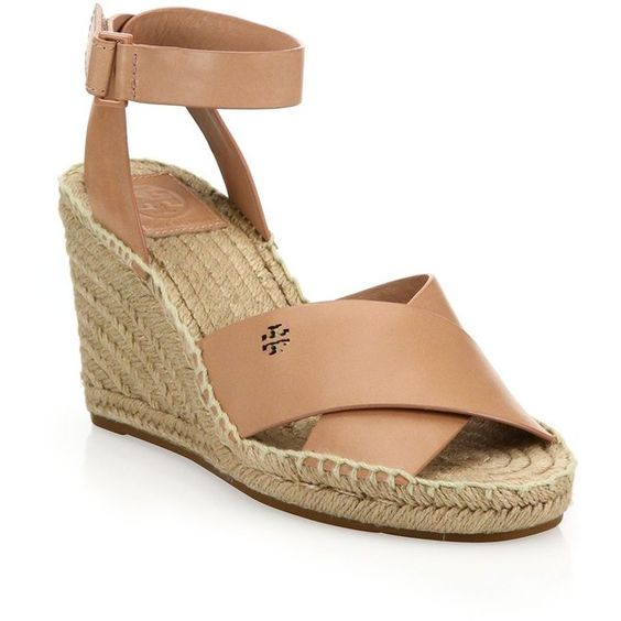 Tory Burch Bima Leather Crisscross Espadrille Wedge Sandals ($290) ❤ liked on Polyvore featuring shoes, sandals, apparel & accessories, nude, wedge sandals, wedges shoes, ankle strap sandals, platform wedge sandals and wedge espadrilles