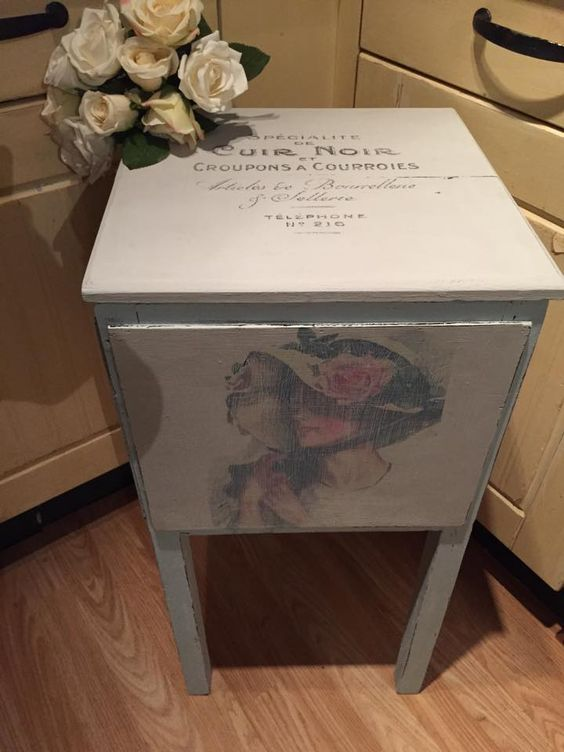 Shabby chic french script and vintage ladies sewing box . xx