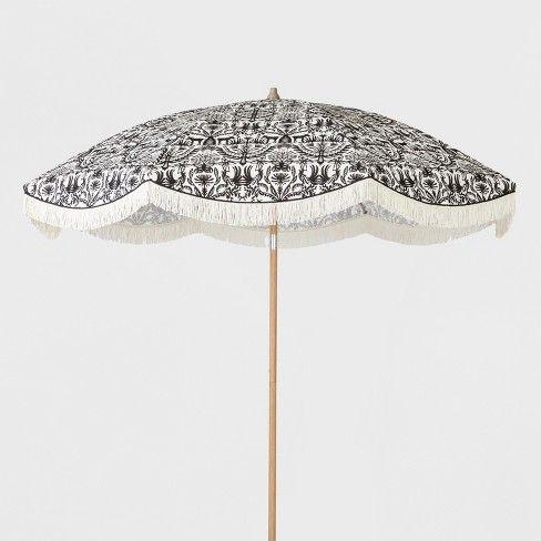 9 Tiered Scalloped Canopy Patio Umbrella Aqua White Pole Opalhouse Patio Umbrella Umbrella Blue Patio