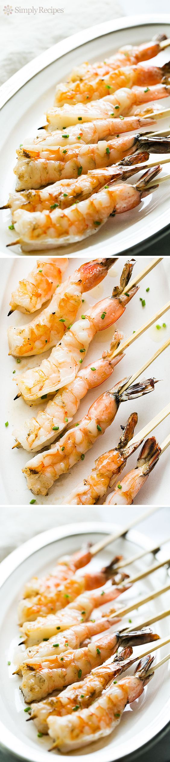 Grilled Garlic Shrimp Skewers ~ Perfect for a #FourthOfJuly cookout! Easy grilled shrimp basted with garlic butter. It's shrimp on a stick! ~ SimplyRecipes.com