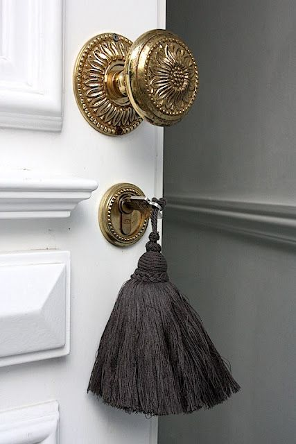 The detailed hardware and luxurious tassel have turned this door into more than just a door.