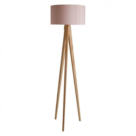 Tripod Ash Wooden Tripod Floor Lamp With Pink Silk Shade Wooden Tripod Floor Lamp Tripod Floor Floor Lamp