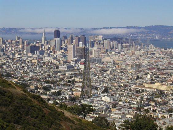 Twin Peaks San Francisco - looking straight down Market Street
