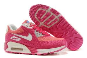 2015 migliori donna nike scarpe da ginnastica air max 90 hyperfuse premium rosa/rosse/bianche economiche offerta