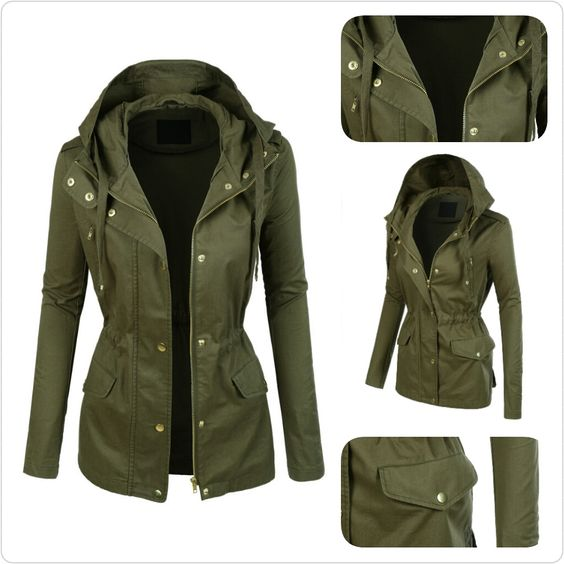 Womens Lightweight Cotton Military Anorak Jacket with Hoodie | I
