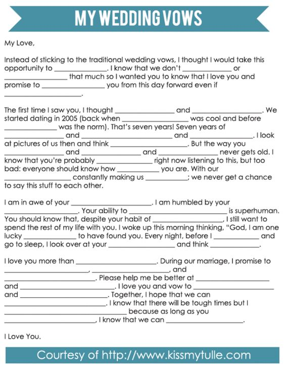 Mad Libs Style Wedding Vows