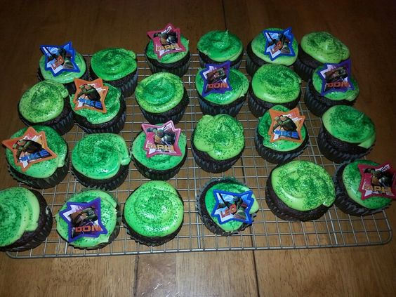 TMNT cupcakes for my son's 6th Birthday!
