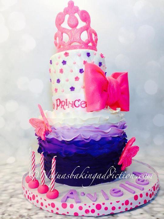 Purple Ombré ruffle princess cake