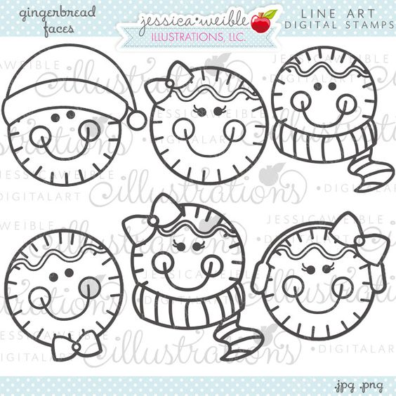 Gingerbread Faces Cute Christmas Digital Stamps by JWIllustrations, $5.00