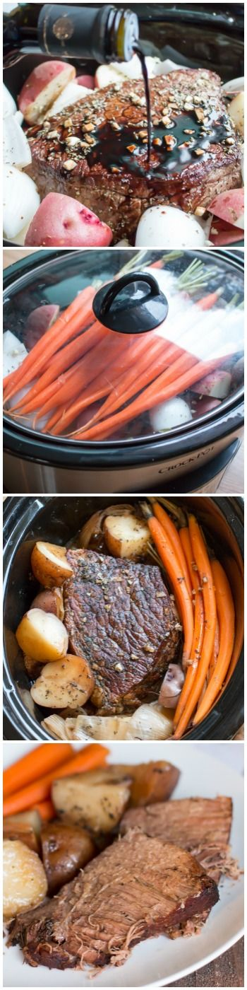 Slow Cooker Balsamic Beef Roast and Veggies. A complete meal!