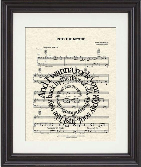Into The Mystic Song Lyric Art Print Sheet Music Art Print Van Morrison Song Love Art Custom