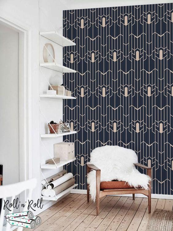 Geometric Pattern Removable Wallpaper Navy And Gold Wall Etsy Removable Wallpaper Gold Walls Smooth Walls