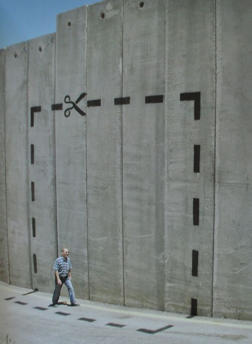 Banksy - Cut it Out at The Segregation Wall, Westbank, Palestine, August 2005