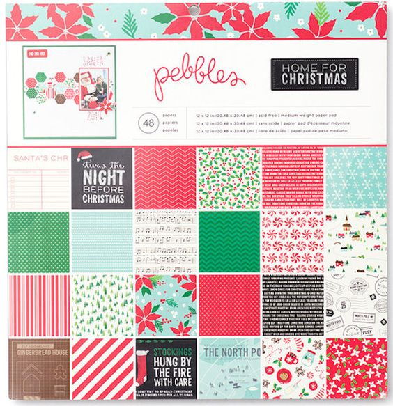 Pebbles - Home For Christmas Collection - 12 x 12 Paper Pad - christmas wish list paper