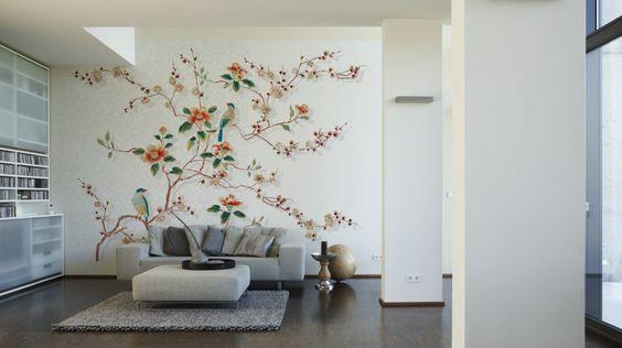 Livingwalls Fototapete Birds in tree (XL) 036863; simuliert auf der Wand