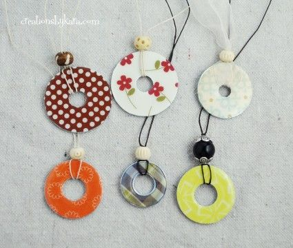 Washers transformed into cute necklaces.