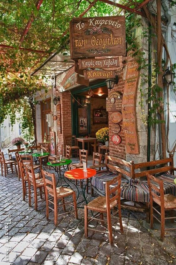 Cafe in Agiassos, Lesvos Greece